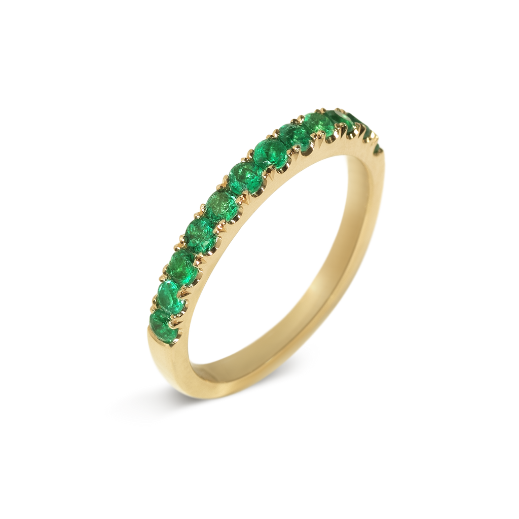 Kafe Emerald Demi Eternity Ring | 18k Yellow Gold | 12 Stones