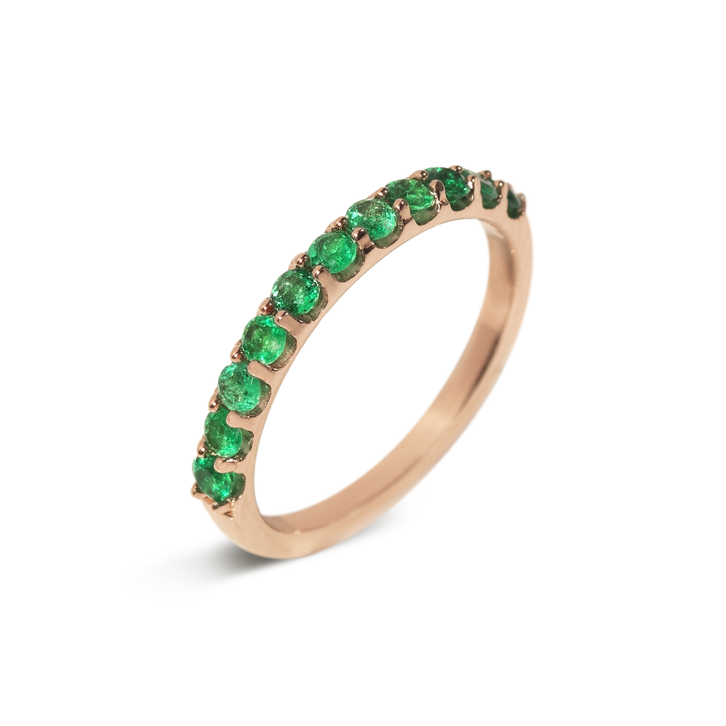 Le Royal Emerald Demi Eternity Ring | 18k Rose Gold | 11 Stones