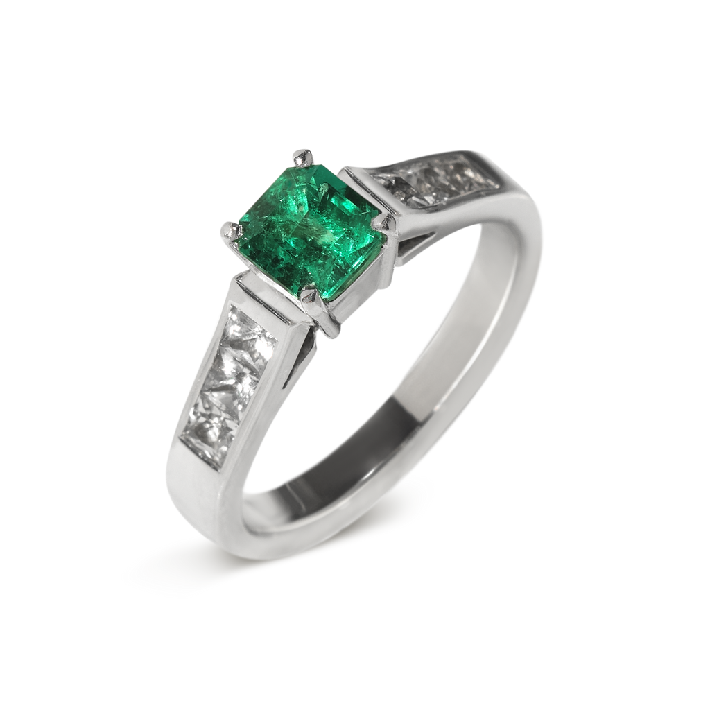 Crown Jewel Emerald Engagement Ring | 18k White Gold