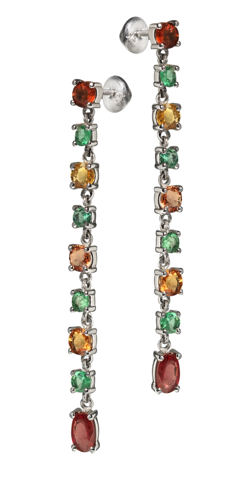 Venetian Chandelier | Sapphire & Emerald Earrings | Shoulder Duster | 18k White Gold | 9 Stone