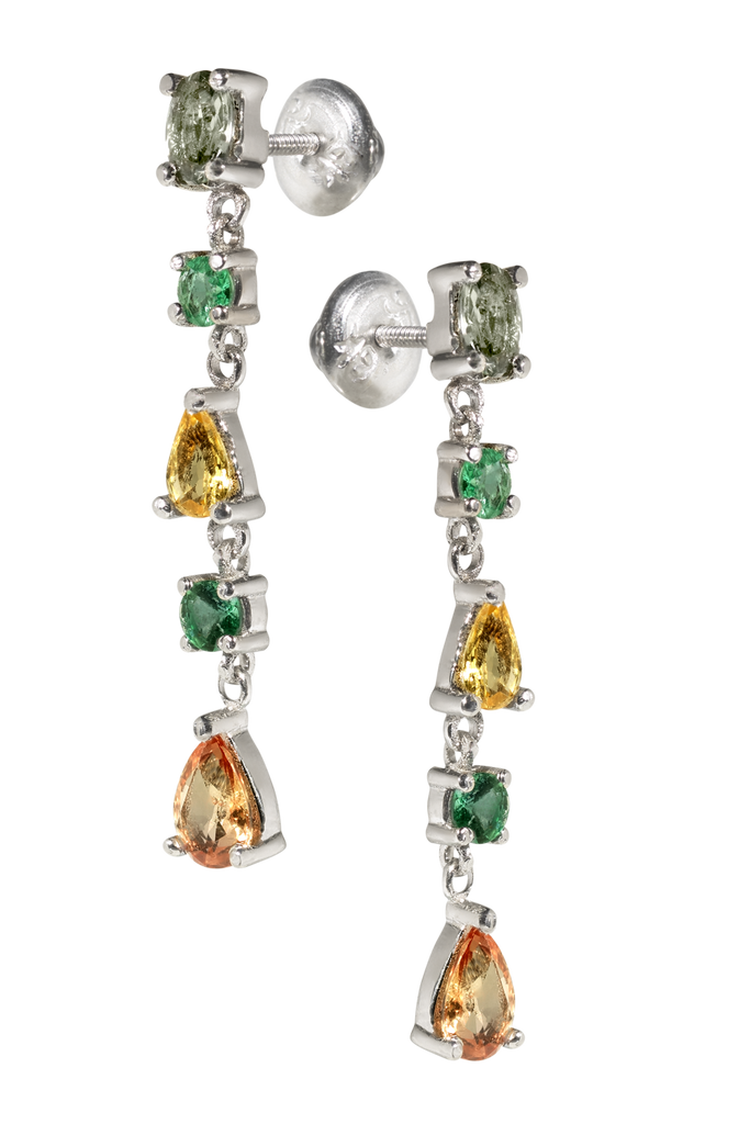 Venetian Chandelier | Sapphire & Emerald Earrings | Shoulder Duster | 18k White Gold | 5 Stone