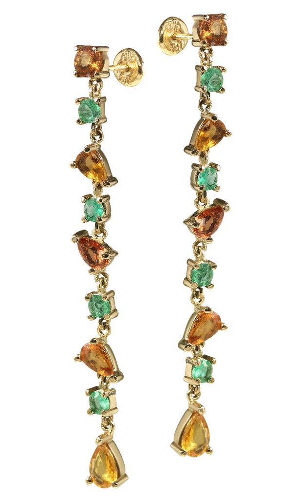 Venetian Chandelier | Sapphire & Emerald Earrings | Shoulder Duster | 18k Yellow Gold | 9 Stone