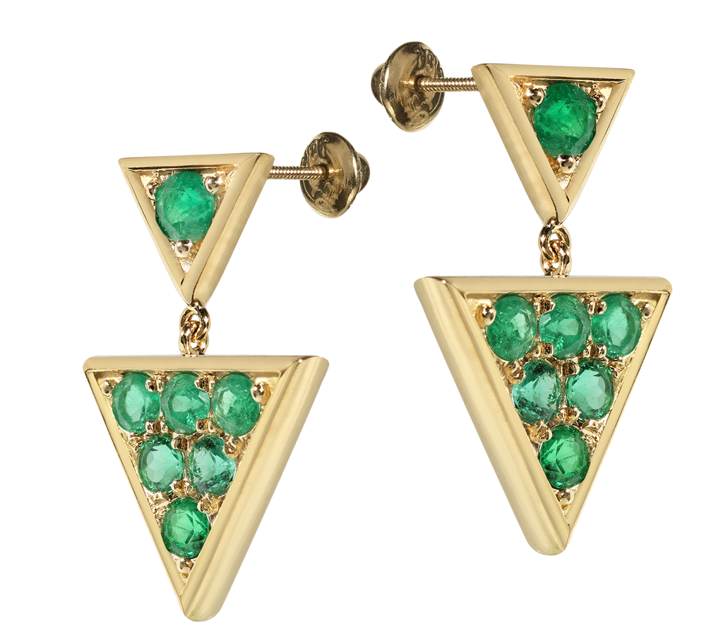 Sahara Emerald Chandelier Earrings | Triangular | 18k Yellow Gold | 7 Stone