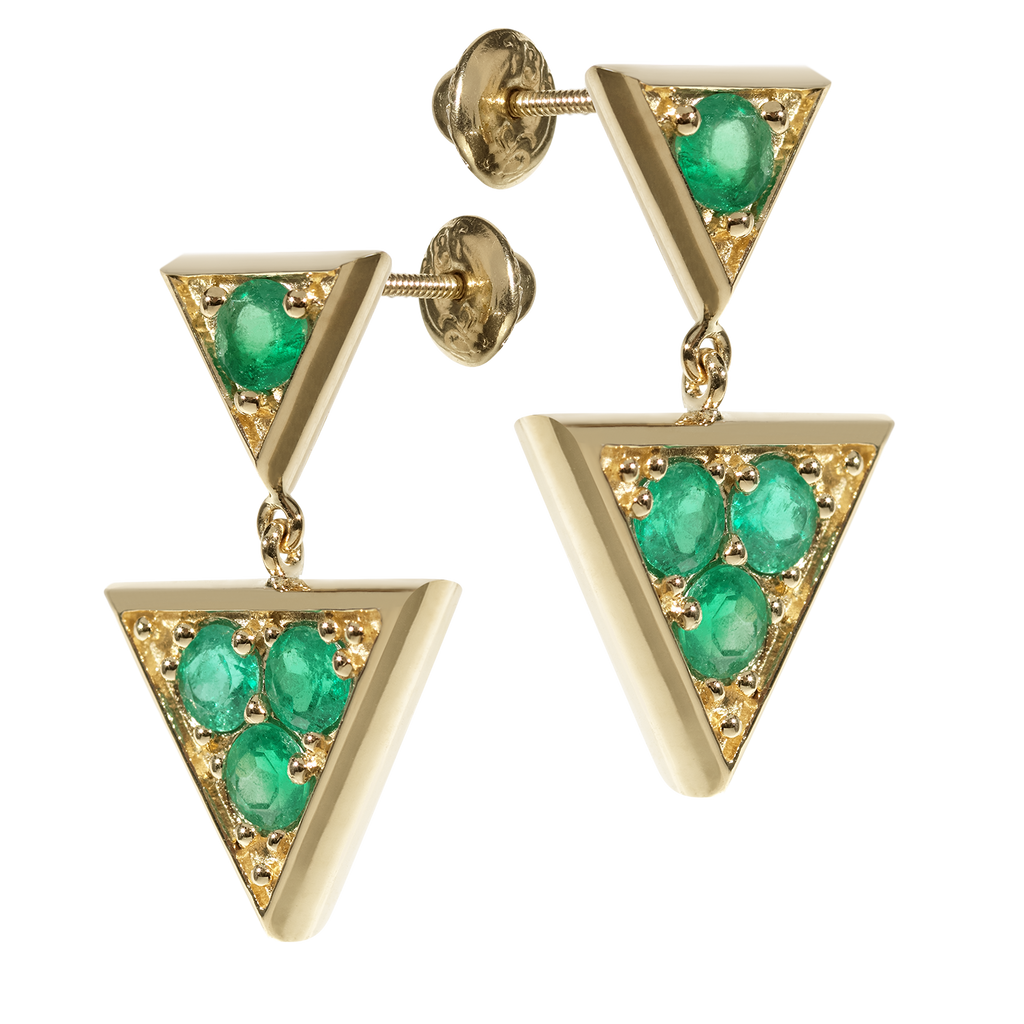 Sahara Emerald Chandelier Earrings | Triangular | 18k Yellow Gold | 4 Stone