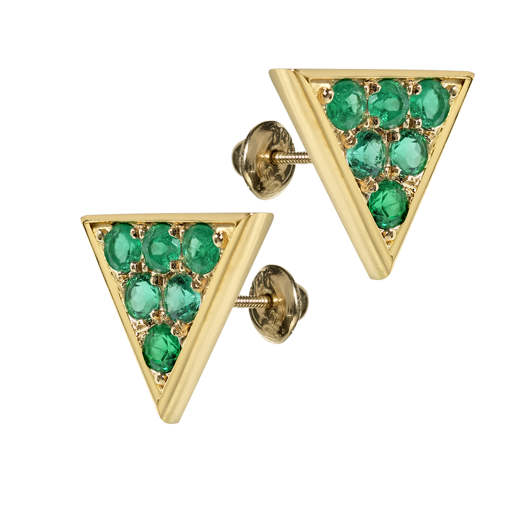Sahara Emerald Stud Earrings | Triangular | 18k Yellow Gold | 6 Stone