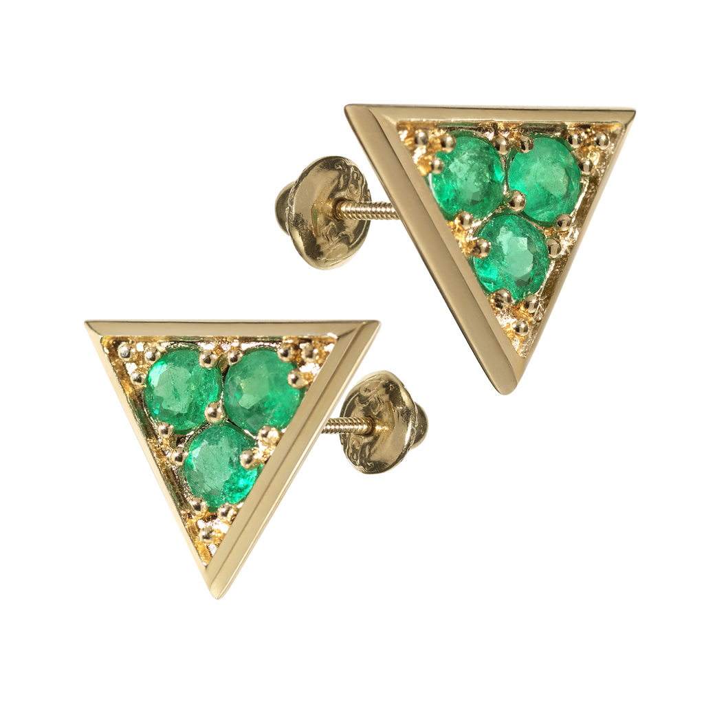 Sahara Emerald Stud Earrings | Triangular | 18k Yellow Gold | 3 Stone
