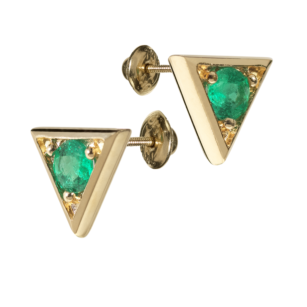 Sahara Emerald Stud Earrings | Triangular | 18k Yellow Gold | 1 Stone