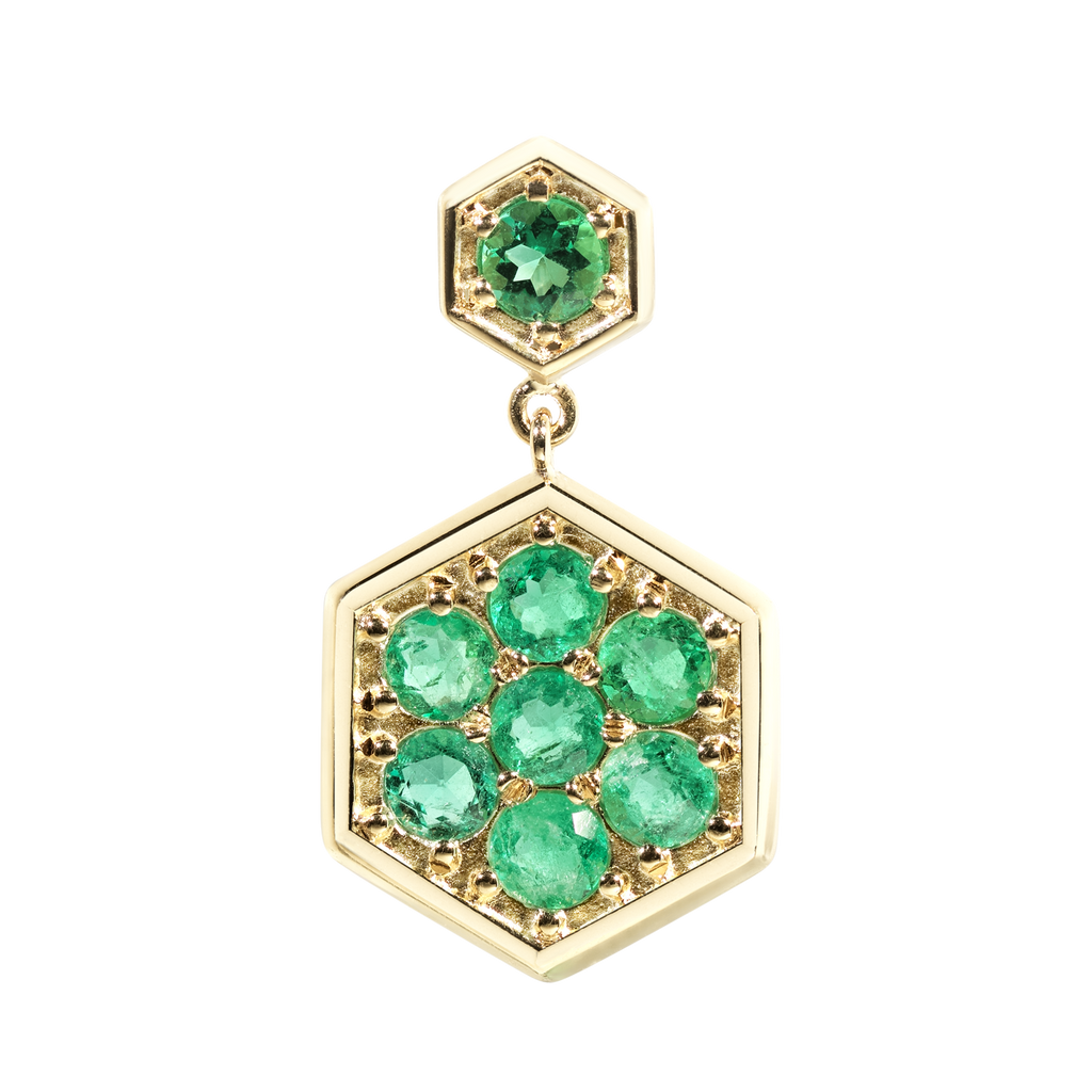 Caravan Chandelier Emerald Earrings | Hexagonal | 18k Yellow Gold | 8 Stone