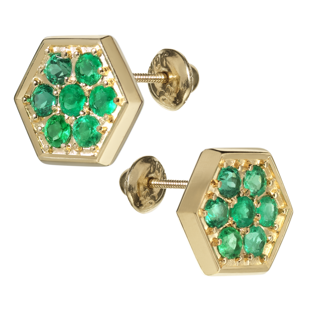 Caravan Emerald Stud Earrings | Hexagonal | 18k Yellow Gold | 7 Stone