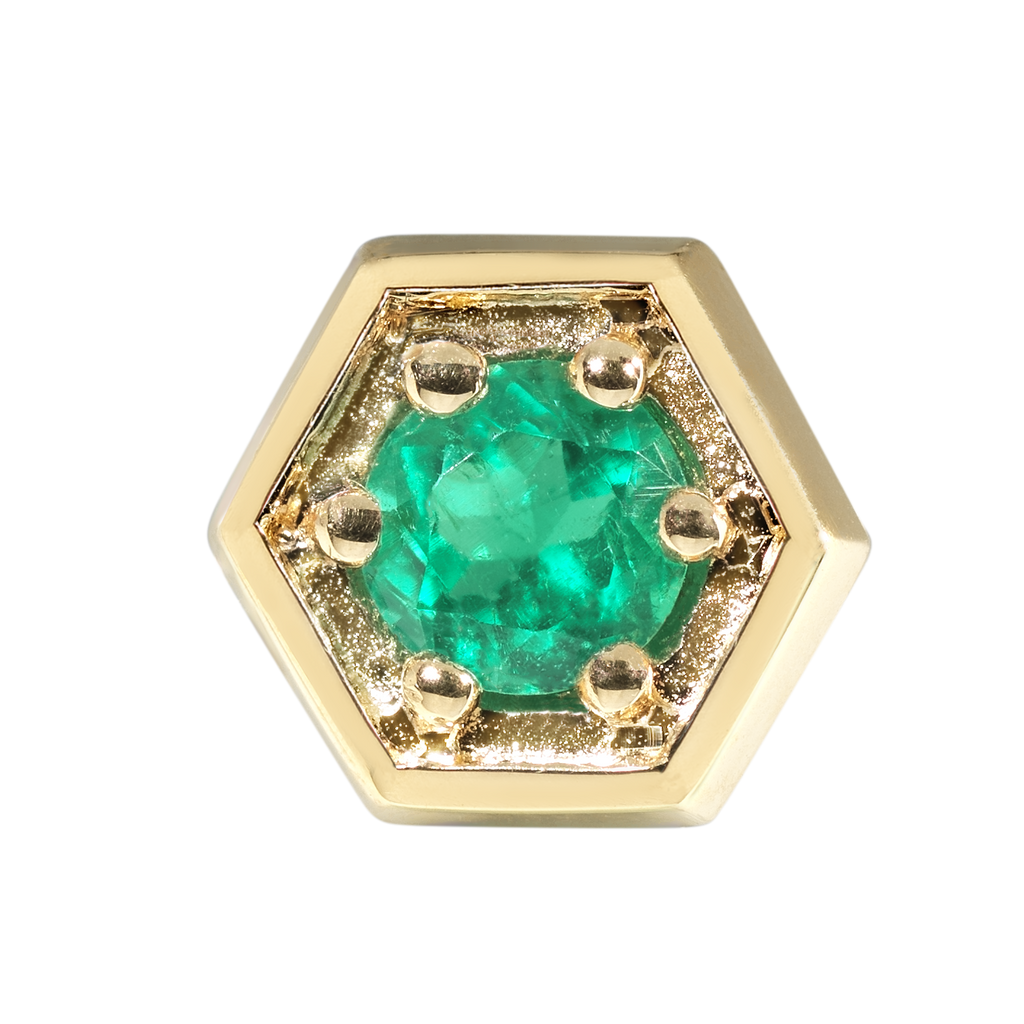 Caravan Emerald Stud Earrings | Hexagonal | 18k Yellow Gold | 1 Stone
