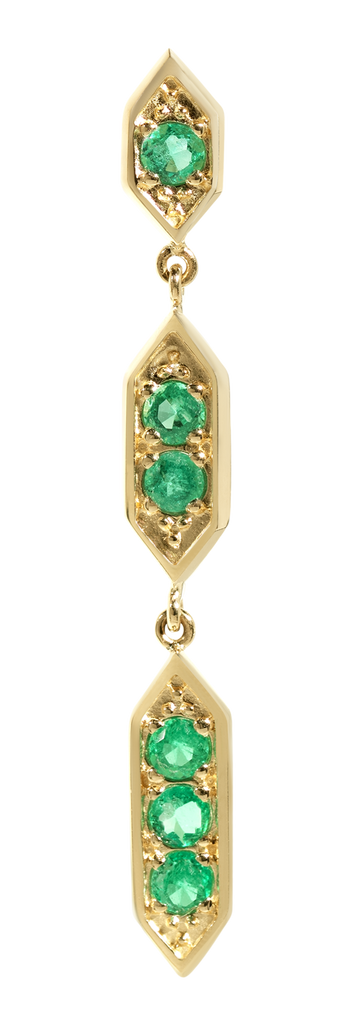 Sultan Chandelier Emerald Earrings | 18k Yellow Gold | 6 Stones