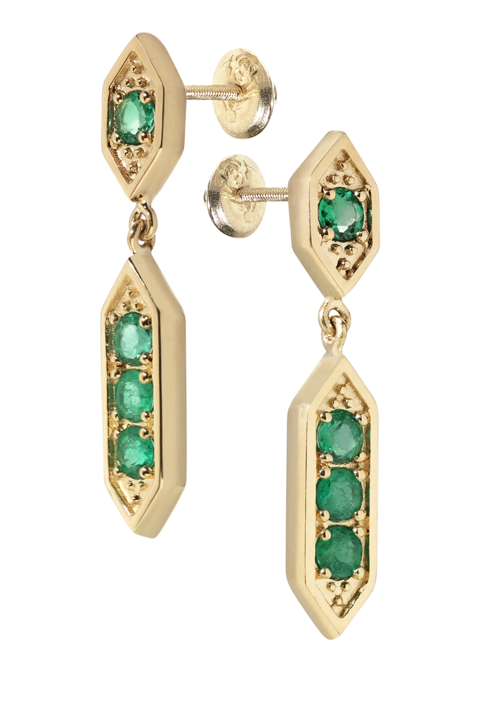 Sultan Chandelier Emerald Earrings | 18k Yellow Gold | 4 Stones
