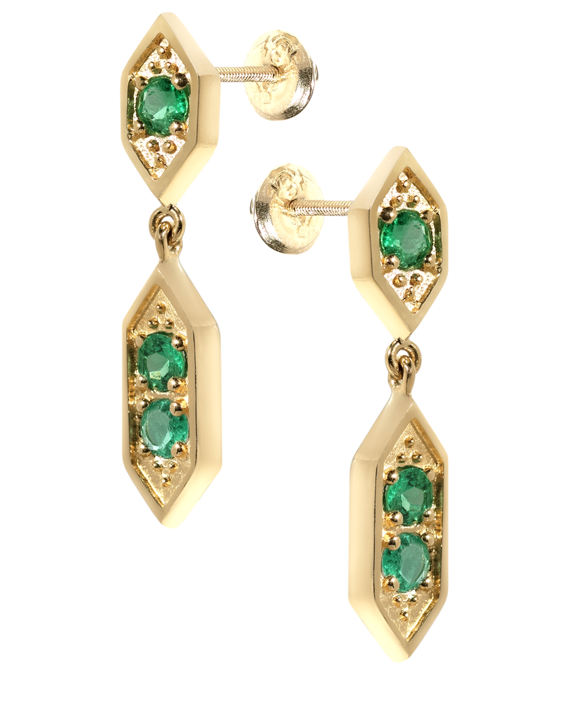Sultan Chandelier Emerald Earrings | 18k Yellow Gold | 3 Stones