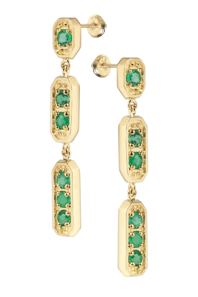 Medina Chandelier Emerald Earrings | Octagonal | 18k Yellow Gold | 6 Stones