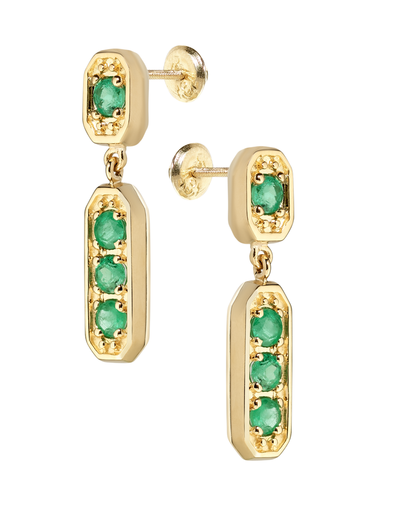 Medina Chandelier Emerald Earrings | Octagonal | 18k Yellow Gold | 4 Stones