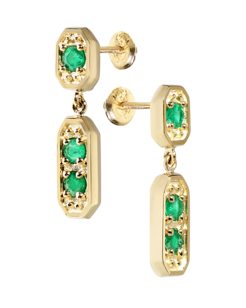 Medina Chandelier Emerald Earrings | Octagonal | 18k Yellow Gold | 3 Stones