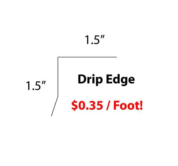 Drip Edge Nosing Flashing, 26 Ga. Galvanized Steel, 10 FOOT LENGTHS