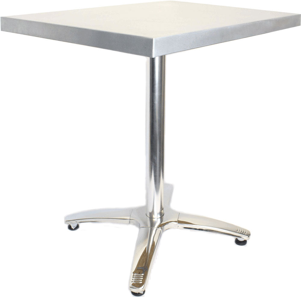 "Large Square Table With Polished Stainless Steel Base, 36"" x 36"" x 30"""
