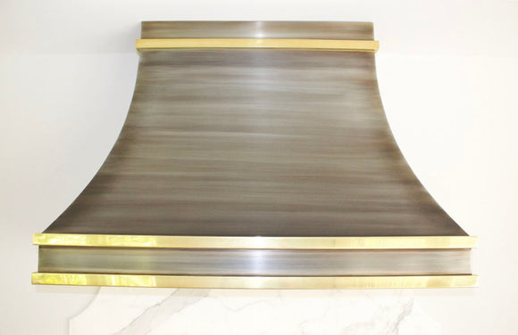 Spring Sale - Zinc Range Hood with Polished Brass Straps