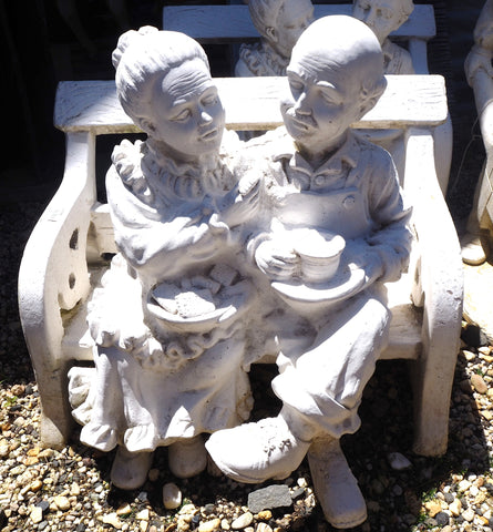 Granny & Pa on bench Statue