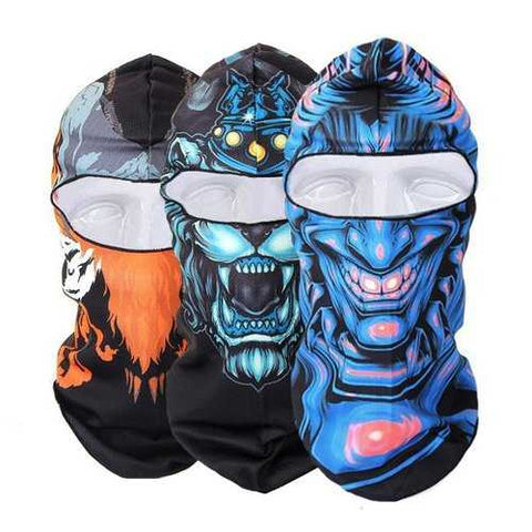 Men Women Winter Neck Face Mask Printed Skiing Hat Cycling Caps