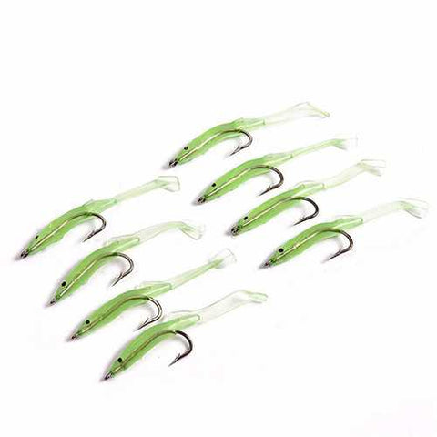 LEO 4 to10 Pcs Luminous Fishing Lure Bait Silica Gel Carbon Hooks Night Light Fishing Tackle