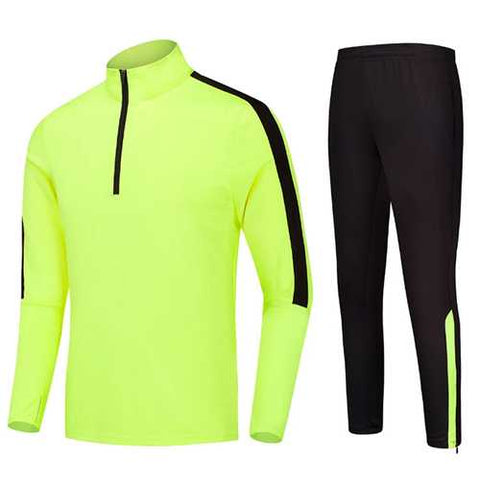 Mens Casual Outdooors Training Sport Suit Zipper Spell Color Football Sportswear