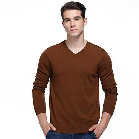 100% Merino Woolen Pullover Fashion V Collar Warm Fleece Knitted Casual Sweater Pullovers