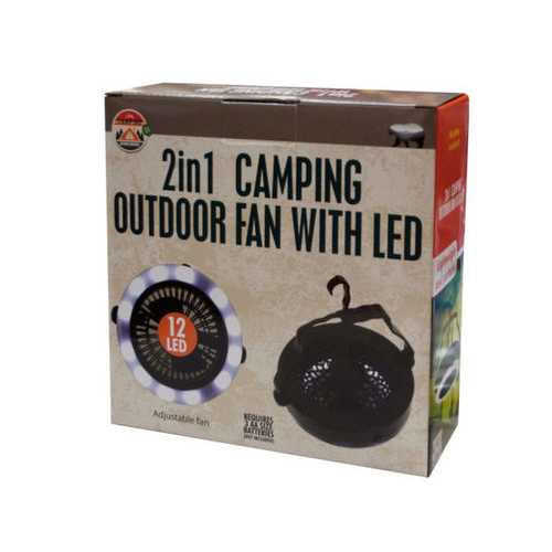 2 in 1 Camping Outdoor Fan with LED Light ( Case of 1 )