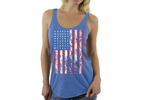 USA Distressed American Flag Racerback Tank Tops