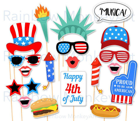 Printable July 4th Photo Booth Props – Independence Day