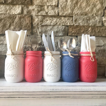 American flag mason jar independence day
