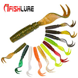 8pcs Curly Tail Soft Lure 75mm 3.3g Forked Tail fishing bait grubs Maggot lure Jig Head Texas Rig