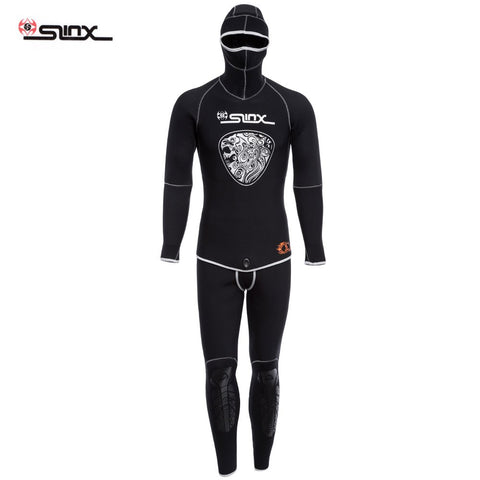 1301 5MM Men 2-piece Diving Suit Wetsuit Full Body Long Sleeve Warmth W/Headgear