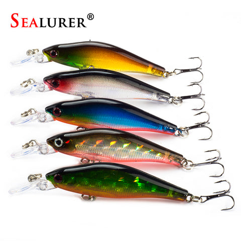 SEALURER 5Pcs Fishing Lures 8cm/6g 5Colors Crankbaits Swimbaits Jerkbaits for Bass Sinking Minnow