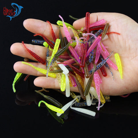 100pcs Pesca Artificial Soft Bait 4cm/0.3g UL Fishing Worm Swimbaits Soft Lure Carp Fishing Bait Fishing Lure Mixed Colors