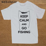 Keep Calm and Go Fishing T Shirt Funny Fish Shirt Short Sleeves Men T-Shirt Ultra Angler REWSTIR