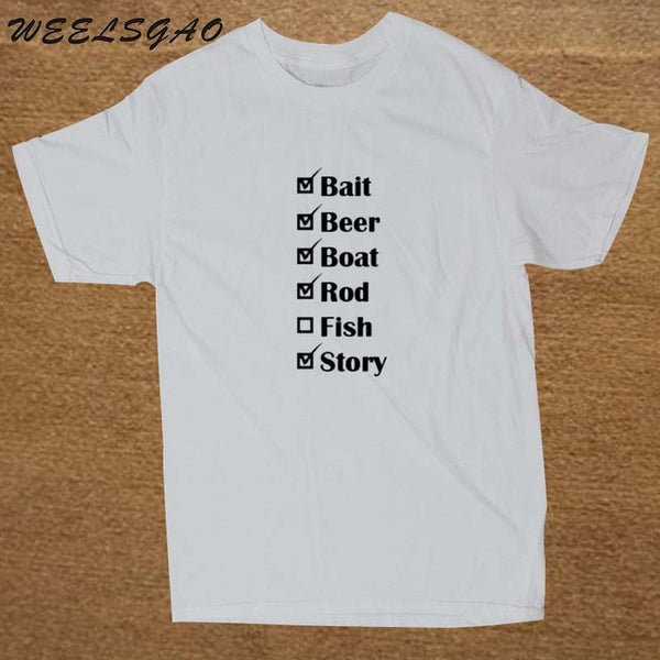 Our Lowest Price t-shirt 100% Cotton O-Neck Short Fishing Checklist Black White Custom Graphic