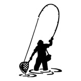 8.8*15.2CM  Man on fishing trip Vinyl Sticker Black/Silver S1-0073