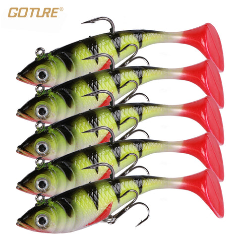 Goture 5pcs/lot 11g 8.5cm Soft Lure Artificial Bait Luminous Lead Fishing Jig Wobblers Fishing Lure