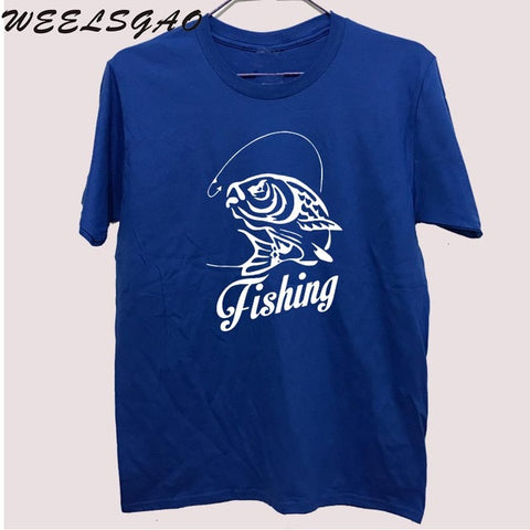 Summer Fishinger Carp T-Shirt Men Funny Cotton Print O Neck Shirts Brand Clothing Top Tee T shirt