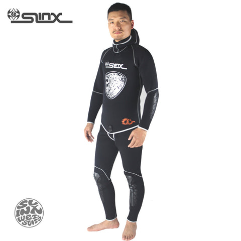 1301 5mm Neoprene Men Hooded Spear Snorkel Fishermen Winter Warm 2-Piece Scuba Diving