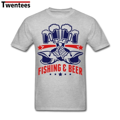 Fishing and Beeer Shirt Men Male Crazy Short Sleeve Thanksgiving Day Plus Size Team Tee Shirts
