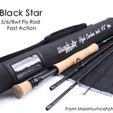 Max catch Top Grade 5wt/6wt/8WT Fly Rod 9FT Carbon Fiber Fast Action Black Star Fly Rod Cordura Tube