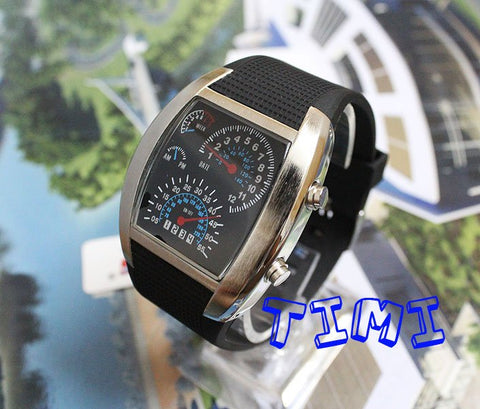 HOT SALE Nice Gift Blue LED Light Dot Matrix Mens Watch DIVE