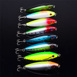 ULTRA 8PCS/LOTS HARD PENCIL FISHING BAIT PLASTIC LURES 3D EYES TREBLE HOOKS