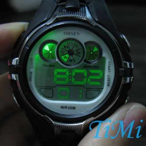 Digital WATERPROOF BOY GIRL LADY ALARM Stop led SPORT WATCH silicone watch dive
