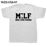 WEELSGAO Summer Fashion MILF T Shirt Fish Men Short Sleeve Cotton Men I Love Fishinger T-shirt Tops Camisetas Tshirt