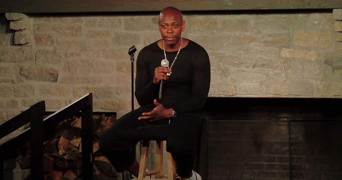 Dave Chappelle on stage during his newest comedy special, '8:46'