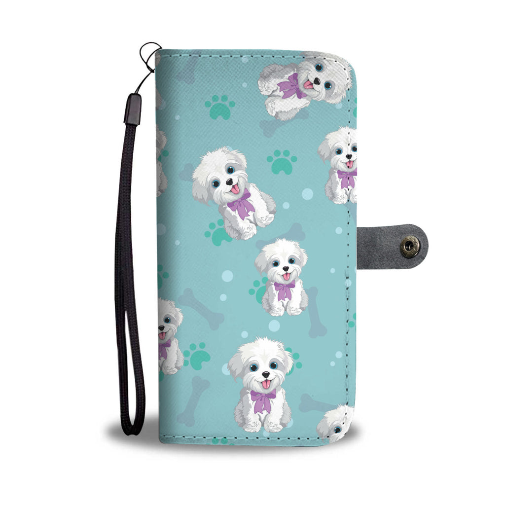 Happy SHIH TZU Paw and Bone Design Shih Tzu Phone Wallet Case
